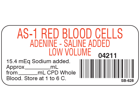 """White 1"""" x 2-1/4"""" Blood Product Labels with Codabar Symbology  - With Imprint: AS-1 RED BLOOD CELLS / ADENINE-SALINE ADDED / LOW VOLUME / 04211 / 15.4 mEq Sodium added./ Approx _____ mL / from _____ mL CPD Whole / Blood. Store at 1 to 6 C."""