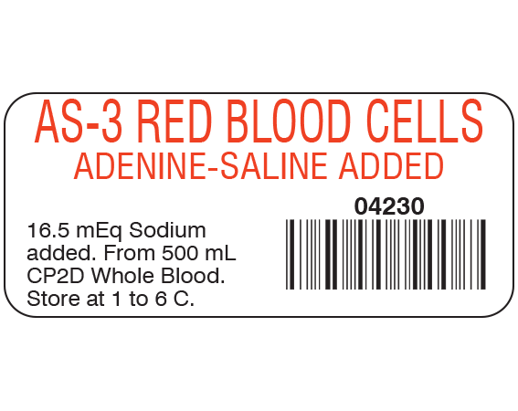 """White 1"""" x 2-1/4"""" Blood Product Labels with Codabar Symbology  - With Imprint: AS-3 RED BLOOD CELLS / ADENINE-SALINE / 04230 / 16.5 mEq Sodium / added. From 500 mL / CP2D Whole Blood. / Store at 1 to 6 C."""