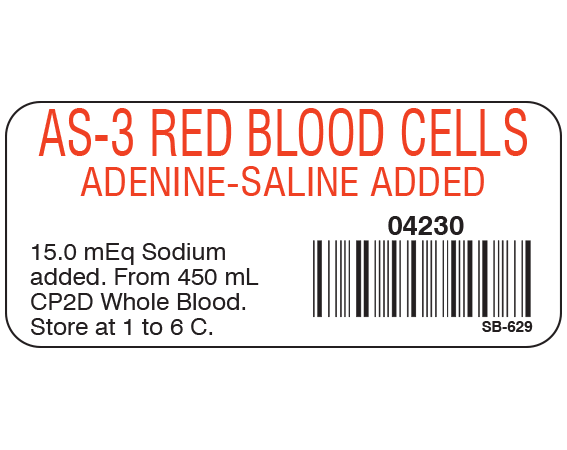 """White 1"""" x 2-1/4"""" Blood Product Labels with Codabar Symbology  - With Imprint: AS-3 RED BLOOD CELLS / ADENINE-SALINE / 04230 / 15.0 mEq Sodium / added. From 450 mL / CP2D Whole Blood. / Store at 1 to 6 C."""