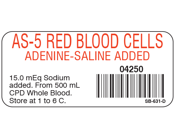 """White 1"""" x 2-1/4"""" Blood Product Labels with Codabar Symbology  - With Imprint: AS-5 RED BLOOD CELLS / ADENINE - SALINE ADDED / 04250 / 15.0 mEq Sodium / added. From 500 mL / CPD Whole Blood. / Store at 1 to 6 C."""