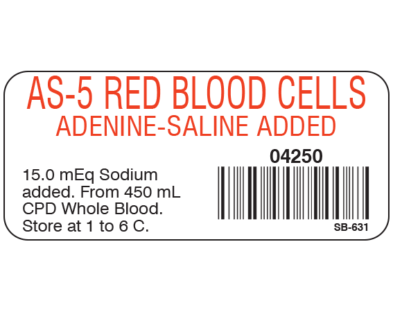 """White 1"""" x 2-1/4"""" Blood Product Labels with Codabar Symbology  - With Imprint: AS-5 RED BLOOD CELLS / ADENINE-SALINE ADDED / 04250 / 15.0 mEq Sodium / added. From 450 mL / CPD Whole Blood. / Store at 1 to 6 C."""