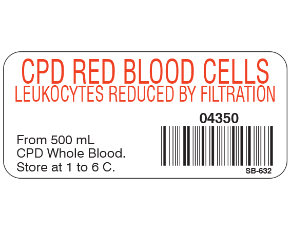 """White 1"""" x 2-1/4"""" Blood Product Labels with Codabar Symbology  - With Imprint: CPD RED BLOOD CELLS / LEUKOCYTES REDUCED BY FILTRATION / 04350 / From 500 mL / CPD Whole Blood. / Store at 1 to 6 C."""