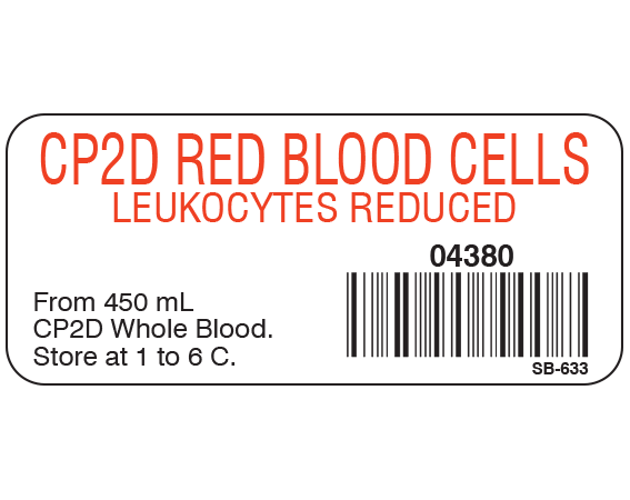 """White 1"""" x 2-1/4"""" Blood Product Labels with Codabar Symbology  - With Imprint: CP2D RED BLOOD CELLS / LEUKOCYTES REDUCED / 04380 / From 450 mL / CP2D Whole Blood. / Store at 1 to 6 C."""