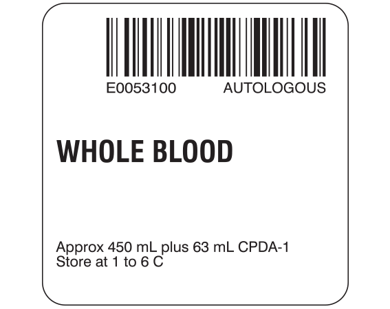 """White 2 """" x 2"""" Whole Blood Product Labels for Compliance with ISBT 128 Standards  - With Imprint: E0053100 AUTOLOGOUS / WHOLE BLOOD / Approx 450 mL plus 63 mL CPDA-1 / Store at 1 to 6 C"""