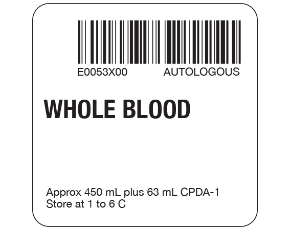 """White 2 """" x 2"""" Whole Blood Product Labels for Compliance with ISBT 128 Standards  - With Imprint: E0053X00 AUTOLOGOUS / WHOLE BLOOD / Approx 450 mL plus 63 mL CPDA-1 / Store at 1 to 6 C"""