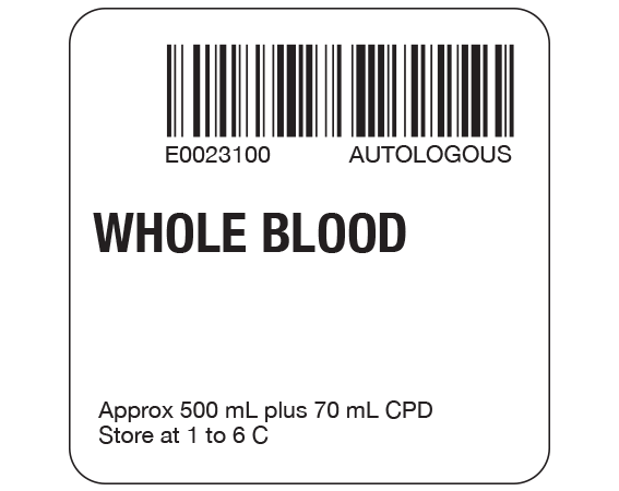 """White 2 """" x 2"""" Whole Blood Product Labels for Compliance with ISBT 128 Standards  - With Imprint: E0023100 AUTOLOGOUS / WHOLE BLOOD / Approx 500 mL plus 70 mL CPD / Store at 1 to 6 C"""
