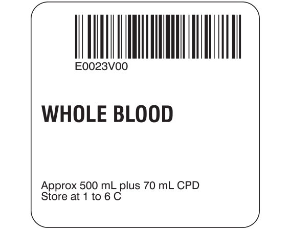 """White 2 """" x 2"""" Whole Blood Product Labels for Compliance with ISBT 128 Standards  - With Imprint: E0023V00 / WHOLE BLOOD / Approx 500 mL plus 70 mL CPD / Store at 1 to 6 C"""