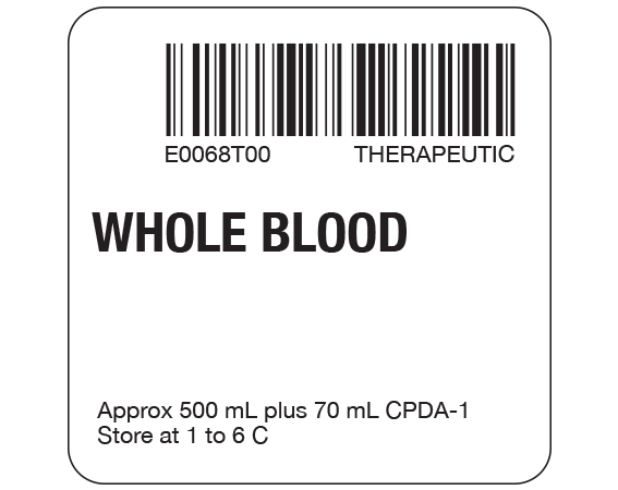 """White 2 """" x 2"""" Whole Blood Product Labels for Compliance with ISBT 128 Standards  - With Imprint: E0068T00 THERAPEUTIC / WHOLE BLOOD / Approx 500 mL plus 70 mL CPDA-1 / Store at 1 to 6 C"""