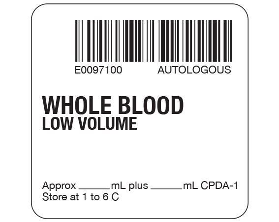 """White 2 """" x 2"""" Whole Blood Product Labels for Compliance with ISBT 128 Standards  - With Imprint: E0097100 AUTOLOGOUS / WHOLE BLOOD / LOW VOLUME / Approx _____ mL plus ____ mL CPDA-1 / Store at 1 to 6 C"""