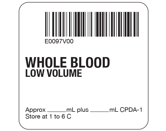 """White 2 """" x 2"""" Whole Blood Product Labels for Compliance with ISBT 128 Standards  - With Imprint: E0097V00 / WHOLE BLOOD / LOW VOLUME / Approx _____ mL plus ____ mL CPDA-1 / Store at 1 to 6 C"""