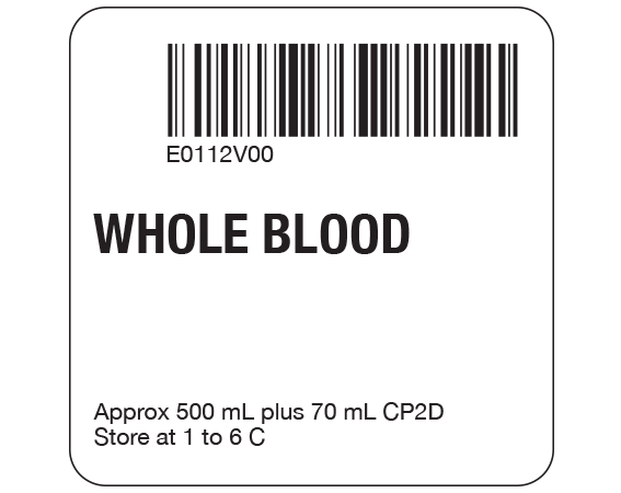 """White 2 """" x 2"""" Whole Blood Product Labels for Compliance with ISBT 128 Standards  - With Imprint: E0112V00 / WHOLE BLOOD / Approx 500 mL plus 70 mL CP2D / Store at 1 to 6 C"""