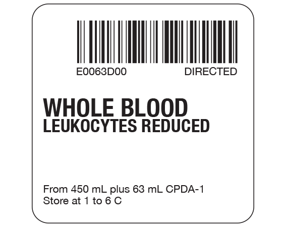 """White 2 """" x 2"""" Whole Blood Product Labels for Compliance with ISBT 128 Standards  - With Imprint: E0063D00 DIRECTED / WHOLE BLOOD / LEUKOCYTES REDUCED / From 450 mL plus 63 mL CPDA-1 / Store at 1 to 6 C"""