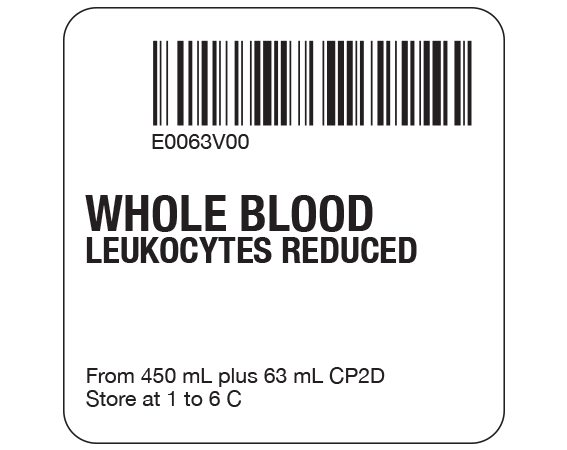 """White 2 """" x 2"""" Whole Blood Product Labels for Compliance with ISBT 128 Standards  - With Imprint: E0063V00 / WHOLE BLOOD / LEUKOCYTES REDUCED / From 450 mL plus 63 mL CPDA-1 / Store at 1 to 6 C"""