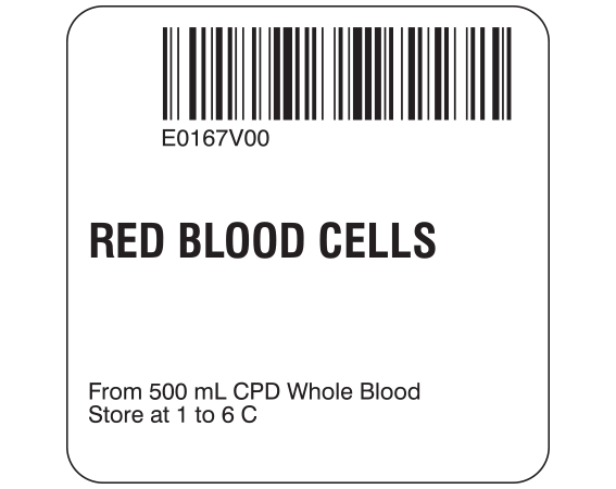 """White 2 """" x 2"""" Red Blood Cells Product Labels for Compliance with ISBT 128 Standards  - With Imprint: E0167V00 / RED BLOOD CELLS / From 500 mL CPD Whole Blood / Store at 1 to 6 C"""