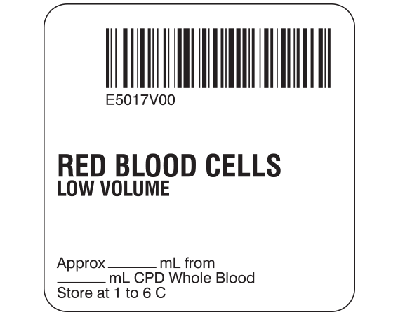 """White 2 """" x 2"""" Red Blood Cells Product Labels for Compliance with ISBT 128 Standards  - With Imprint: E5017V00 / RED BLOOD CELLS / LOW VOLUME / Approx _____ mL from / ____ mL CPD Whole Blood / Store at 1 to 6 C"""