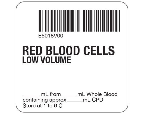 """White 2 """" x 2"""" Red Blood Cells Product Labels for Compliance with ISBT 128 Standards  - With Imprint: E5018V00 / RED BLOOD CELLS / LOW VOLUME / _____ mL from _____ mL Whole Blood / containing approx _____ mL CPD / Store at 1 to 6 C"""