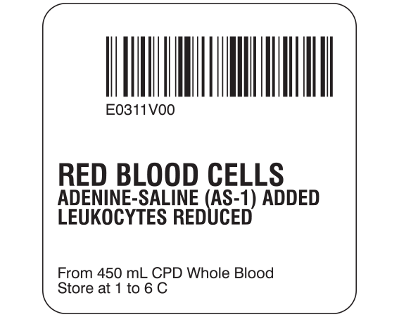 """White 2 """" x 2"""" Red Blood Cells Product Labels for Compliance with ISBT 128 Standards  - With Imprint: E0311V00 / RED BLOOD CELLS / ADENINE-SALINE (AS-1) ADDED / LEUKOCYTES REDUCED / From 450 mL CPD Whole Blood / Store at 1 to 6 C"""
