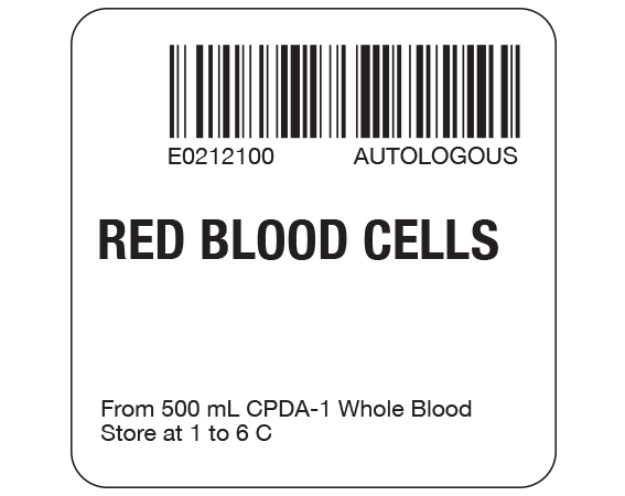 """White 2 """" x 2"""" Red Blood Cells Product Labels for Compliance with ISBT 128 Standards  - With Imprint: E0212100 AUTOLOGOUS / RED BLOOD CELLS / From 500 mL CPDA-1 Whole Blood / Store at 1 to 6 C"""