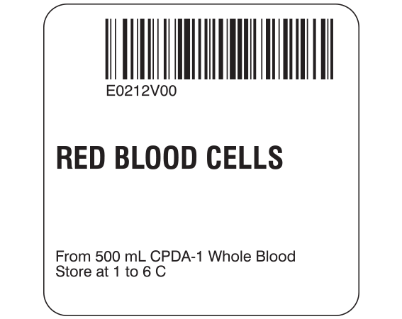 """White 2 """" x 2"""" Red Blood Cells Product Labels for Compliance with ISBT 128 Standards  - With Imprint: E0212V00 / RED BLOOD CELLS / From 500 mL CPDA-1 Whole Blood / Store at 1 to 6 C"""