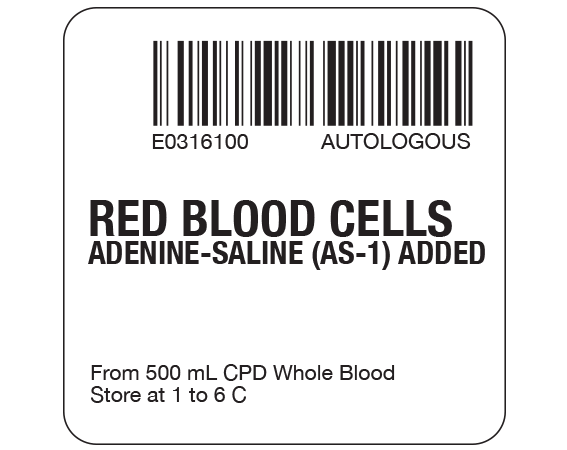 """White 2 """" x 2"""" Red Blood Cells Product Labels for Compliance with ISBT 128 Standards  - With Imprint: E0316100 AUTOLOGOUS / RED BLOOD CELLS / ADENINE-SALINE (AS-1) ADDED / From 500 mL CPD Whole Blood / Store at 1 to 6 C"""