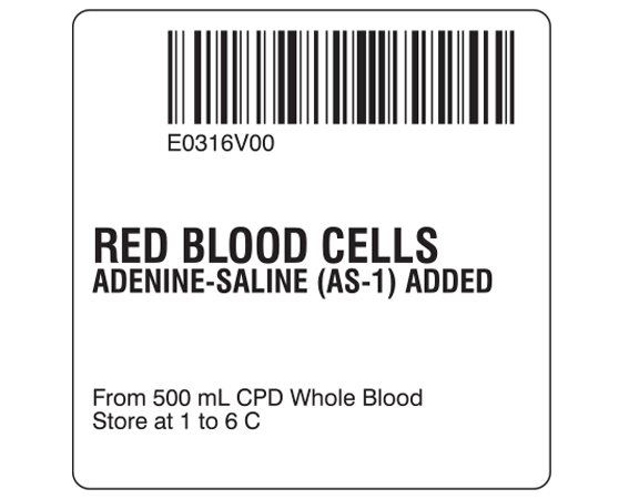 """White 2 """" x 2"""" Red Blood Cells Product Labels for Compliance with ISBT 128 Standards  - With Imprint: E0316V00 / RED BLOOD CELLS / ADENINE-SALINE (AS-1) ADDED / From 500 mL CPD Whole Blood / Store at 1 to 6 C"""