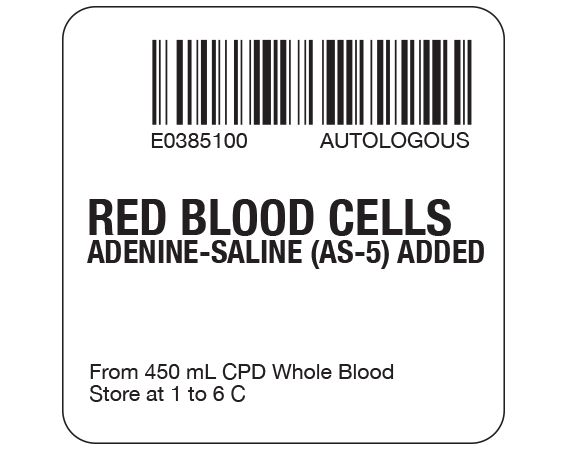 """White 2 """" x 2"""" Red Blood Cells Product Labels for Compliance with ISBT 128 Standards  - With Imprint: E0385100 AUTOLOGOUS / RED BLOOD CELLS / ADENINE-SALINE (AS-5) ADDED / From 450 mL CPD Whole Blood / Store at 1 to 6 C"""