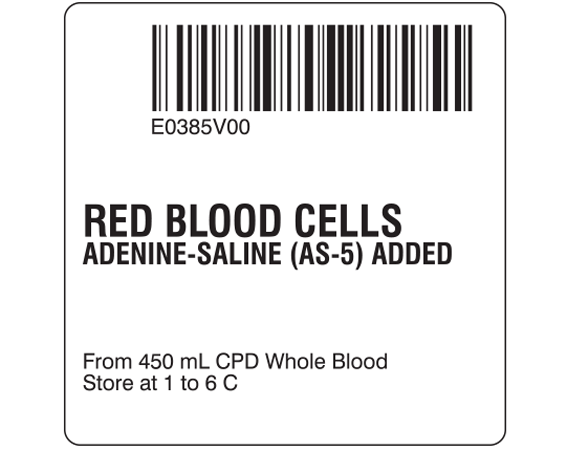 """White 2 """" x 2"""" Red Blood Cells Product Labels for Compliance with ISBT 128 Standards  - With Imprint: E0385V00 / RED BLOOD CELLS / ADENINE-SALINE (AS-5) ADDED / From 450 mL CPD Whole Blood / Store at 1 to 6 C"""