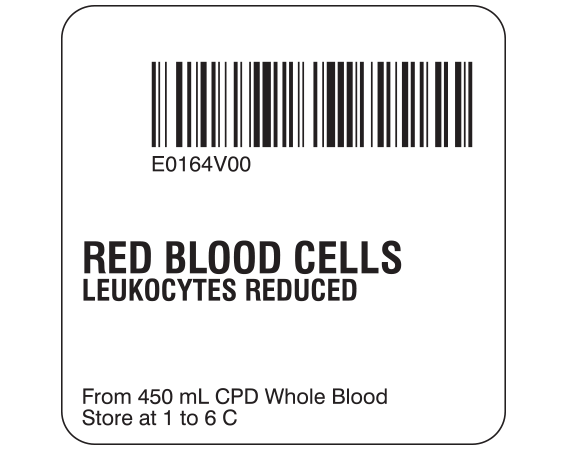 """White 2 """" x 2"""" Red Blood Cells Product Labels for Compliance with ISBT 128 Standards  - With Imprint: E0164V00 / RED BLOOD CELLS / LEUKOCYTES REDUCED / From 450 mL CPD Whole Blood / Store at 1 to 6 C"""