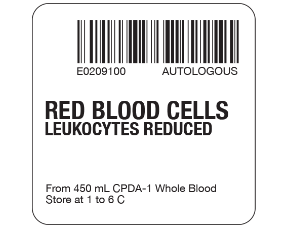 """White 2 """" x 2"""" Red Blood Cells Product Labels for Compliance with ISBT 128 Standards  - With Imprint: E0209100 AUTOLOGOUS / RED BLOOD CELLS / LEUKOCYTES REDUCED / From 450 mL CPDA-1 Whole Blood / Store at 1 to 6 C"""