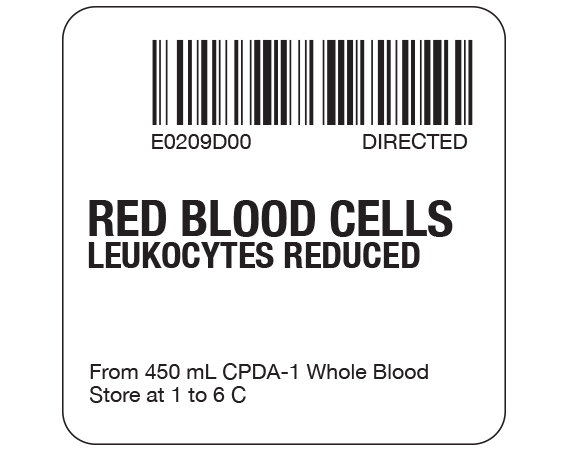 """White 2 """" x 2"""" Red Blood Cells Product Labels for Compliance with ISBT 128 Standards  - With Imprint: E0209D00 DIRECTED / RED BLOOD CELLS / LEUKOCYTES REDUCED / From 450 mL CPDA-1 Whole Blood / Store at 1 to 6 C"""