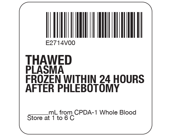 """White 2 """" x 2"""" Plasma Product Labels for Compliance with ISBT 128 Standards  - With Imprint: E2714V00 / THAWED / PLASMA / FROZEN WITHIN 24 HOURS / AFTER PHLEBOTOMY / _____ mL from CPDA-1 Whole Blood / Store at 1 to 6 C"""