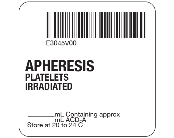 """White 2 """" x 2"""" Platelets Product Labels for Compliance with ISBT 128 Standards  - With Imprint: E3045V00 / APHERESIS / PLATELETS / IRRADIATED / _____ mL containing approx / _____ mL ACD-A / Store at 20 to 24 C"""