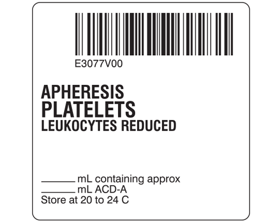 """White 2 """" x 2"""" Platelets Product Labels for Compliance with ISBT 128 Standards  - With Imprint: E3077V00 / APHERESIS / PLATELETS / LEUKOCYTES REDUCED / _____ mL containing approx / _____ mL ACD-A / Store at 20 to 24 C"""