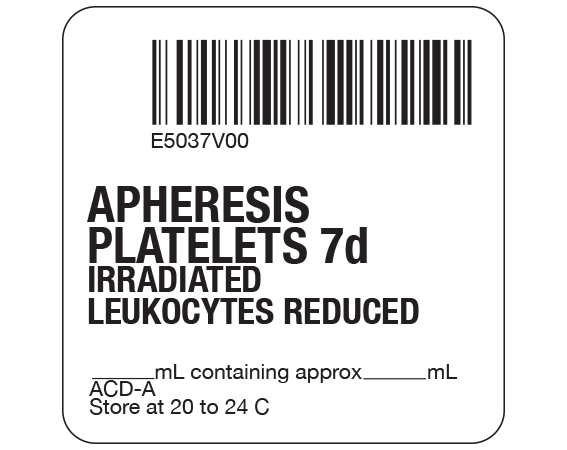 """White 2 """" x 2"""" Platelets Product Labels for Compliance with ISBT 128 Standards  - With Imprint: E5037V00 / APHERESIS / PLATELETS 7d / IRRADIATED / LEUKOCYTES REDUCED / _____ mL containing approx _____ mL / ACD-A / Store at 20 to 24 C"""