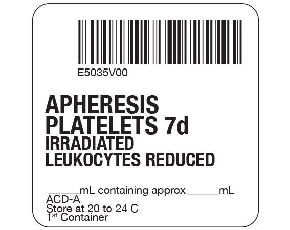 """White 2 """" x 2"""" Platelets Product Labels for Compliance with ISBT 128 Standards  - With Imprint: E5035V00 / APHERESIS / PLATELETS 7d / IRRADIATED / LEUKOCYTES REDUCED / _____ mL containing approx _____ mL / ACD-A / Store at 20 to 24 C / 1st Container"""