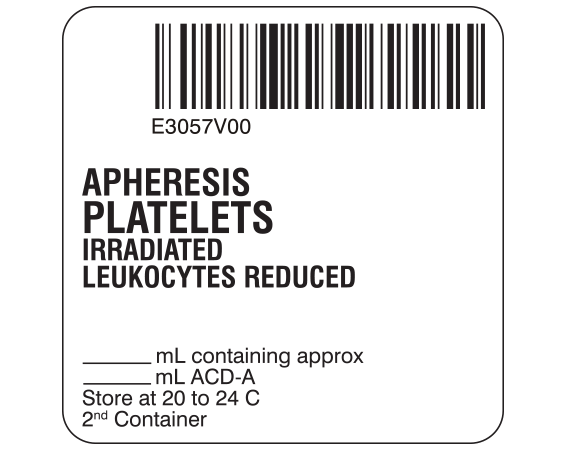 """White 2 """" x 2"""" Platelets Product Labels for Compliance with ISBT 128 Standards  - With Imprint: E3057V00 / APHERESIS / PLATELETS / IRRADIATED / LEUKOCYTES REDUCED / _____ mL containing approx _____ mL / ACD-A / Store at 20 to 24 C / 2nd Container"""