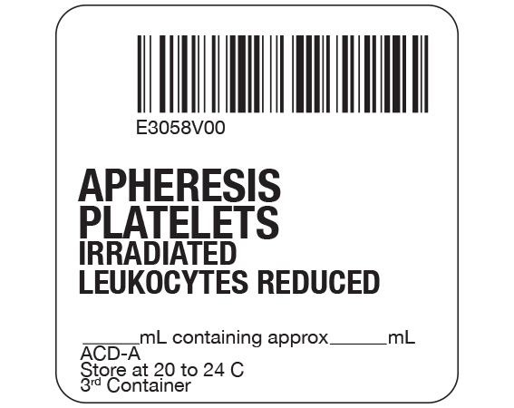 """White 2 """" x 2"""" Platelets Product Labels for Compliance with ISBT 128 Standards  - With Imprint: E3058V00 / APHERESIS / PLATELETS / IRRADIATED / LEUKOCYTES REDUCED / _____ mL containing approx _____ mL / ACD-A / Store at 20 to 24 C / 3rd Container"""