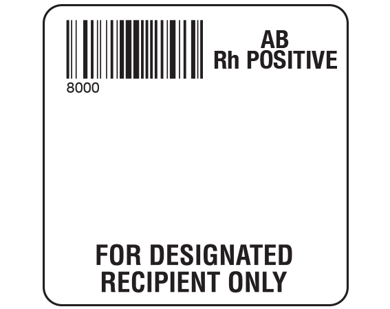 """White 2 """" x 2"""" Designated Recipient Group Type Labels for Compliance with ISBT 128 Standards  - With Imprint: 8000 / AB / Rh Positive / FOR DESIGNATED / RECIPIENT ONLY"""