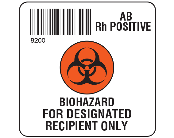 """White 2 """" x 2"""" Biohazard Designated Recipient Group Type Labels for Compliance with ISBT 128 Standards  - With Imprint: 8200 / AB / Rh Positive / BIOHAZARD SYMBOL / BIOHAZARD / FOR DESIGNATED / RECIPIENT ONLY"""