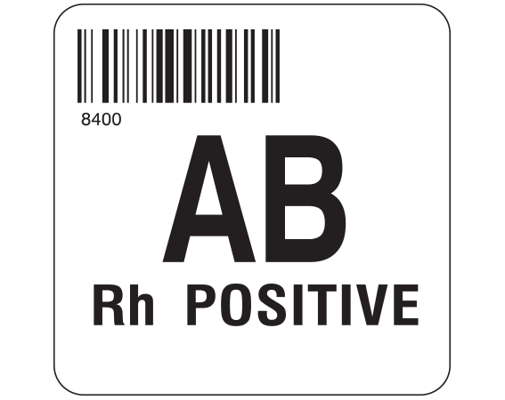"""White 2 """" x 2"""" Group Type Labels for Compliance with ISBT 128 Standards  - With Imprint: 8400 / AB / Rh POSITIVE"""