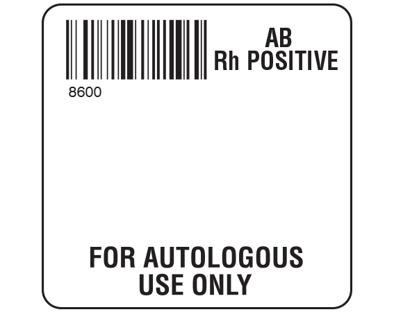 """White 2 """" x 2"""" Autologous Group Type Labels for Compliance with ISBT 128 Standards  - With Imprint: 8600 / AB / Rh Positive / FOR AUTOLOGOUS / USE ONLY"""
