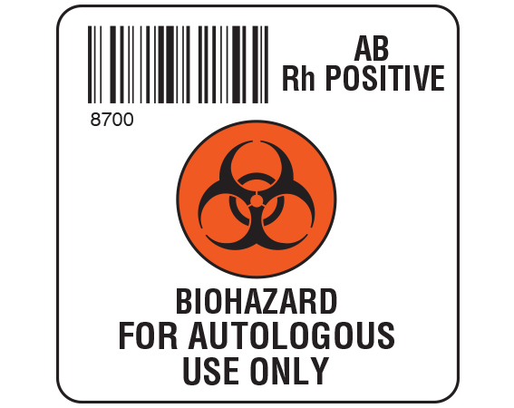 """White 2 """" x 2"""" Biohazard Autologous Group Type Labels for Compliance with ISBT 128 Standards  - With Imprint: 8700 / AB / Rh Positive / BIOHAZARD SYMBOL / BIOHAZARD / FOR AUTOLOGOUS / USE ONLY"""