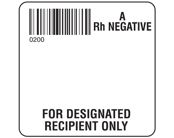 """White 2 """" x 2"""" Designated Recipient Group Type Labels for Compliance with ISBT 128 Standards  - With Imprint: 0200 / A / Rh Negative / FOR DESIGNATED / RECIPIENT ONLY"""