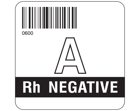 """White 2 """" x 2"""" Group Type Labels for Compliance with ISBT 128 Standards  - With Imprint: 0600 / A / Rh NEGATIVE"""