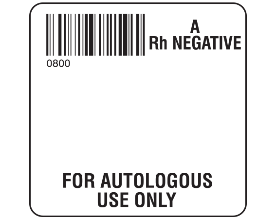 """White 2 """" x 2"""" Autologous Group Type Labels for Compliance with ISBT 128 Standards  - With Imprint: 0800 / A / Rh Negative / FOR AUTOLOGOUS / USE ONLY"""