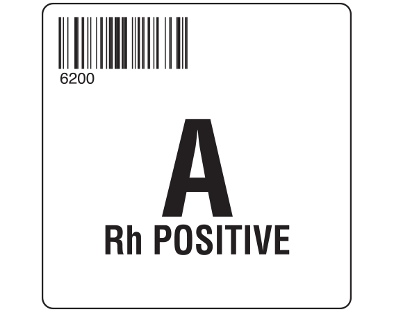 """White 2 """" x 2"""" Group Type Labels for Compliance with ISBT 128 Standards  - With Imprint: 6200 / A / Rh POSITIVE"""