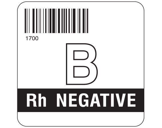 """White 2 """" x 2"""" Group Type Labels for Compliance with ISBT 128 Standards  - With Imprint: 1700 / B / Rh NEGATIVE"""