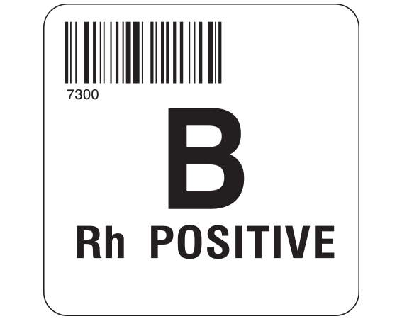 """White 2 """" x 2"""" Group Type Labels for Compliance with ISBT 128 Standards  - With Imprint: 7300 / B / Rh POSITIVE"""