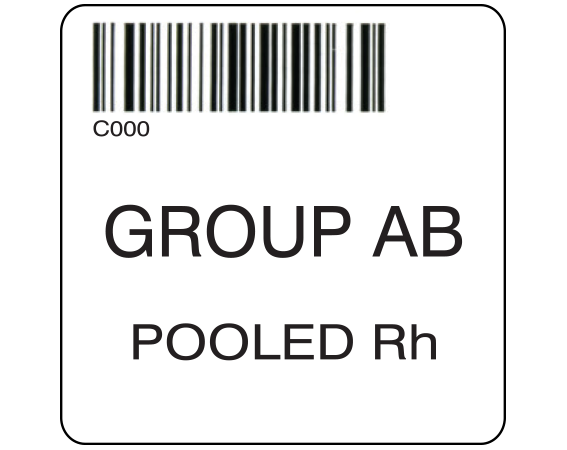 """White 2 """" x 2"""" Pooled Product Group Type Labels for Compliance with ISBT 128 Standards  - With Imprint: C000 / GROUP AB / POOLED Rh"""