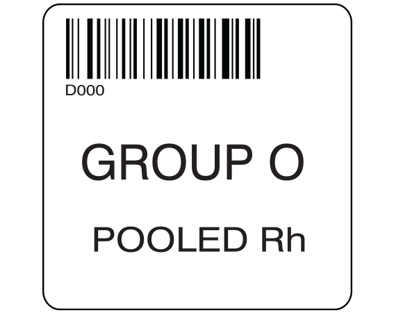 """White 2 """" x 2"""" Pooled Product Group Type Labels for Compliance with ISBT 128 Standards  - With Imprint: D000 / GROUP O / POOLED Rh"""